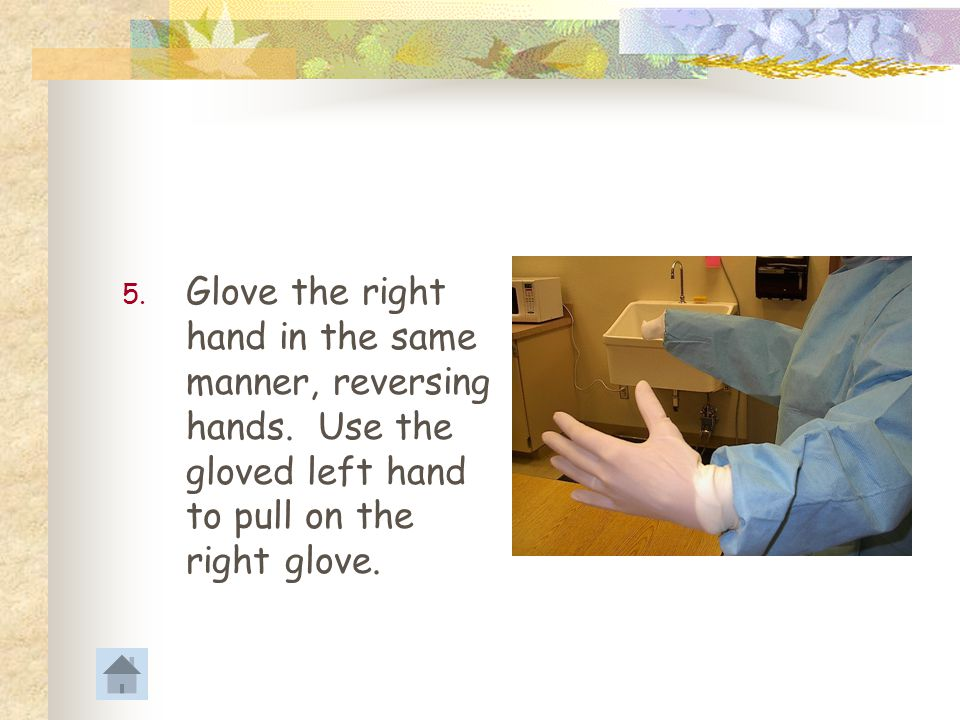 Glove the right hand in the same manner, reversing hands