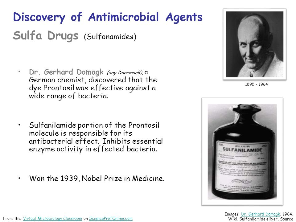 Discovery of Antimicrobial Agents Sulfa Drugs (Sulfonamides)