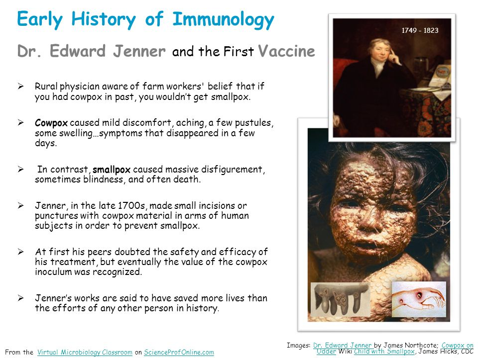 Early History of Immunology Dr. Edward Jenner and the First Vaccine