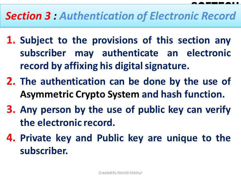Section 3 : Authentication of Electronic Record