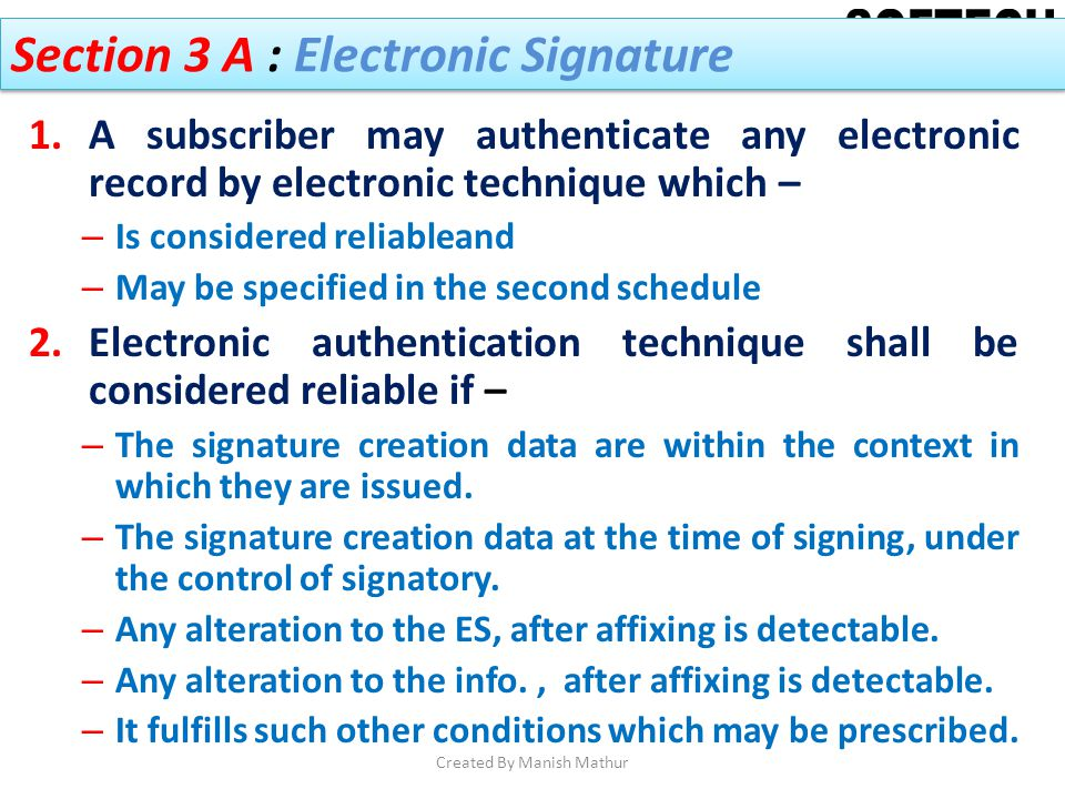 Section 3 A : Electronic Signature