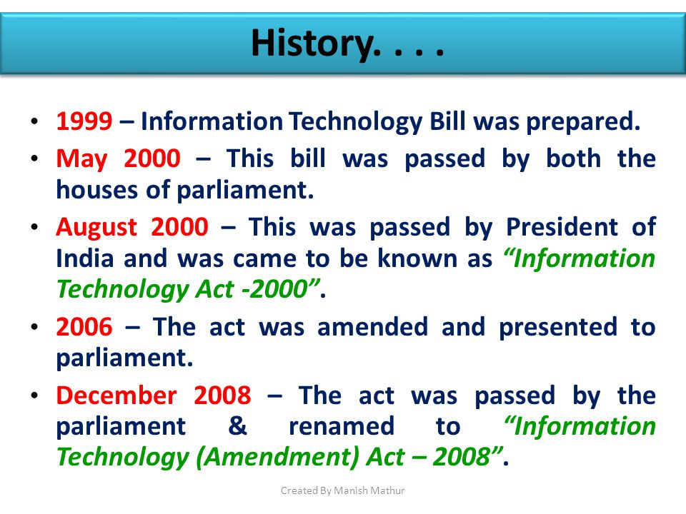 history of information technology act 2000