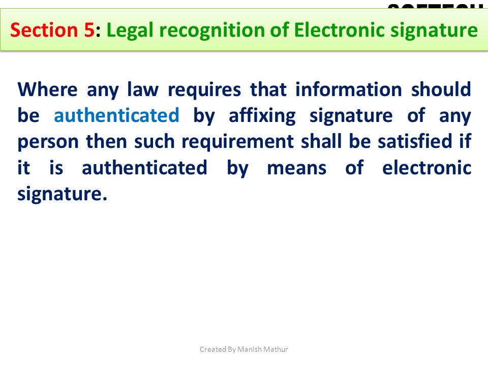 Section 5: Legal recognition of Electronic signature