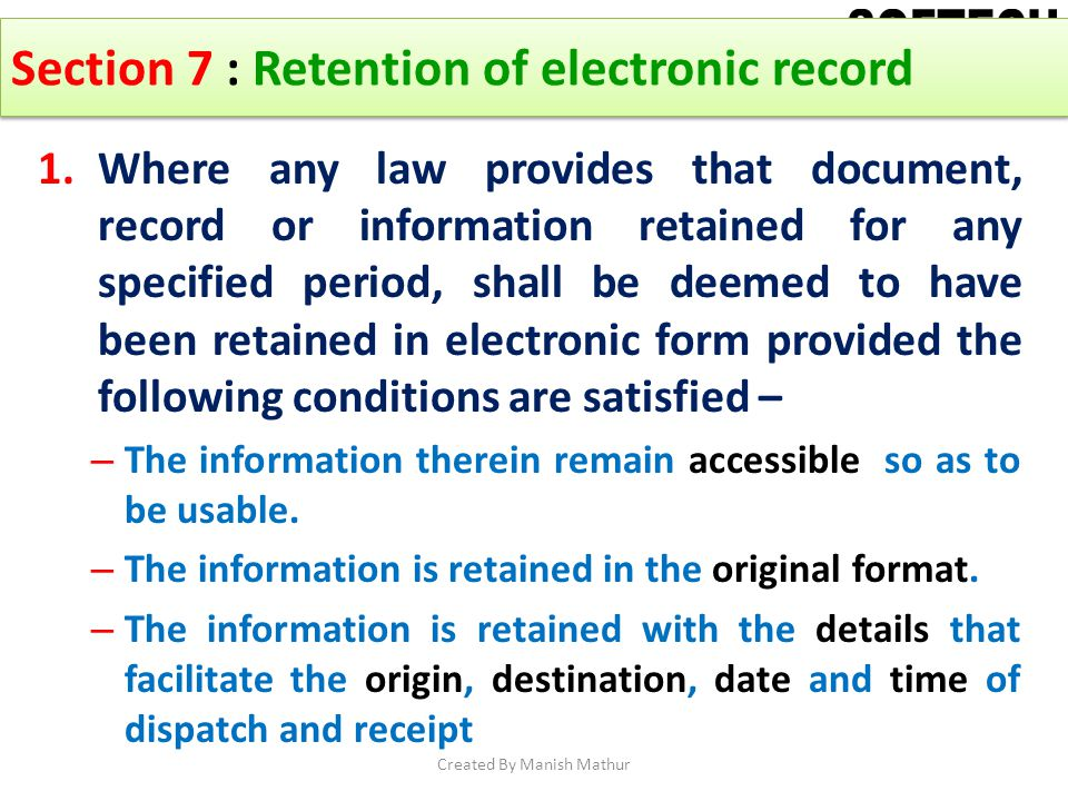 Section 7 : Retention of electronic record