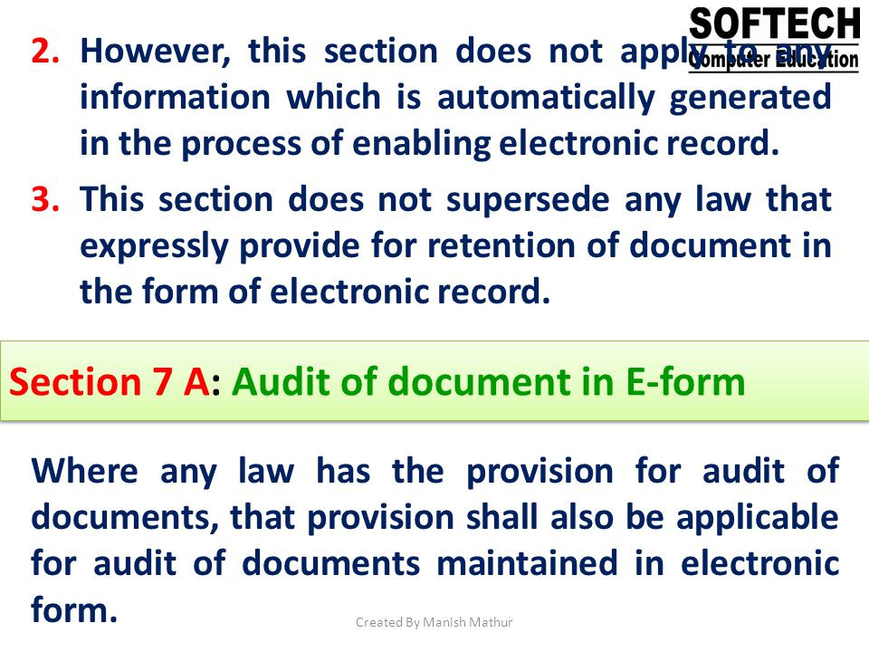 Section 7 A: Audit of document in E-form