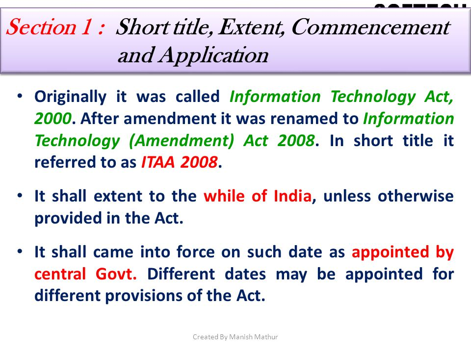 Section 1 : Short title, Extent, Commencement and Application