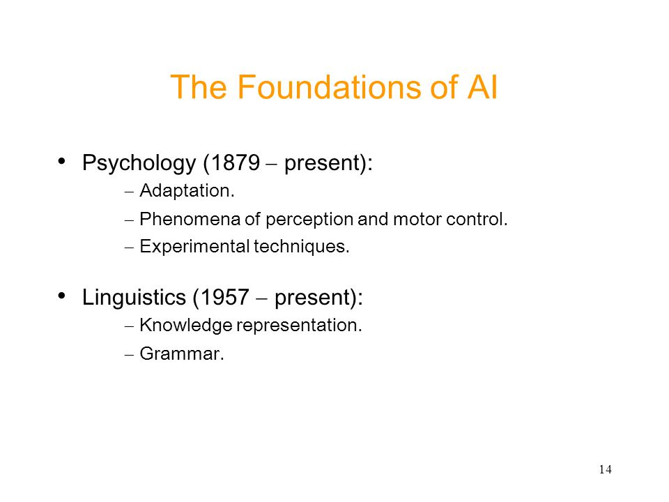 The Foundations of AI Psychology (1879 - present): - Adaptation.