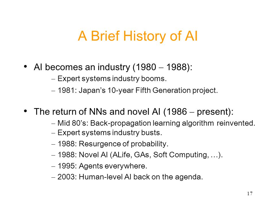A Brief History of AI AI becomes an industry (1980 - 1988):