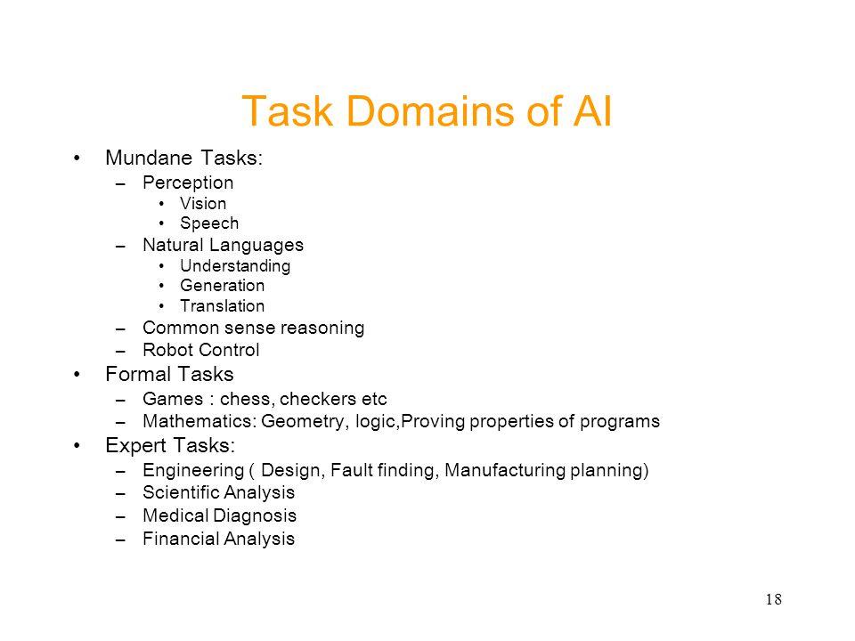 Task Domains of AI Mundane Tasks: Formal Tasks Expert Tasks: