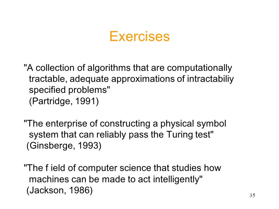 Exercises A collection of algorithms that are computationally