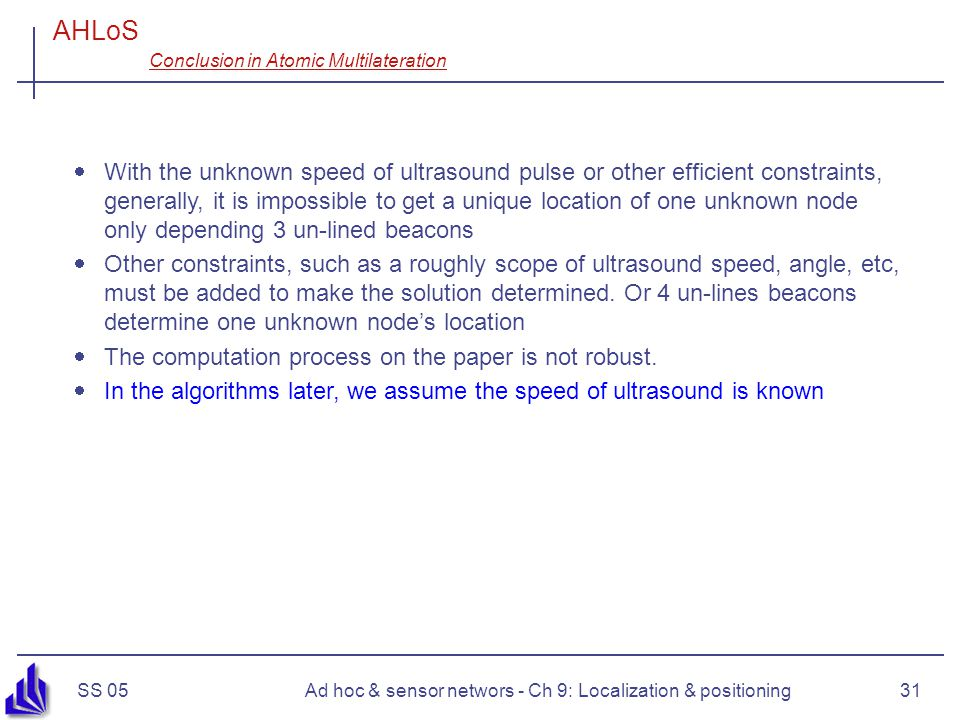 AHLoS Conclusion in Atomic Multilateration