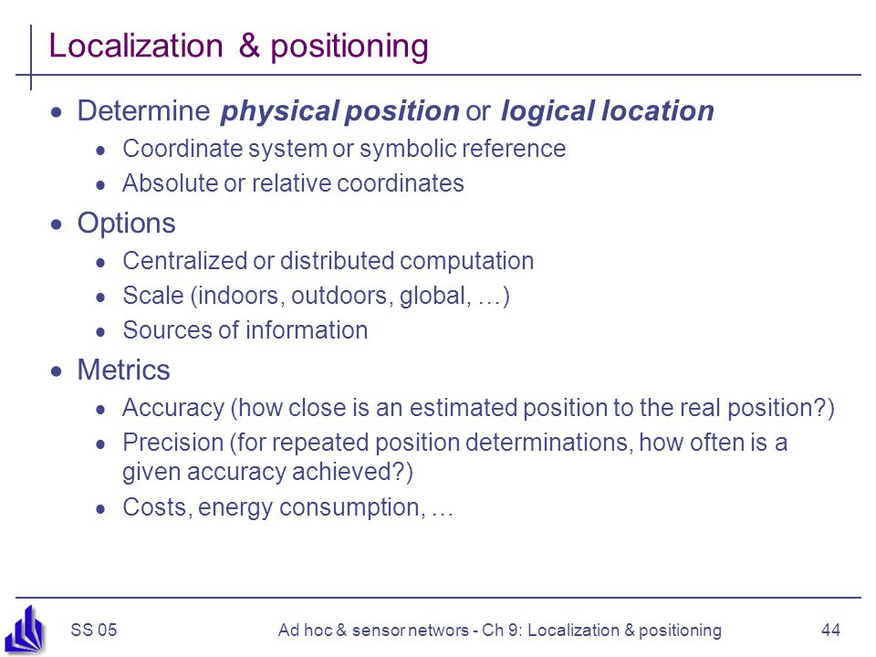 Localization & positioning