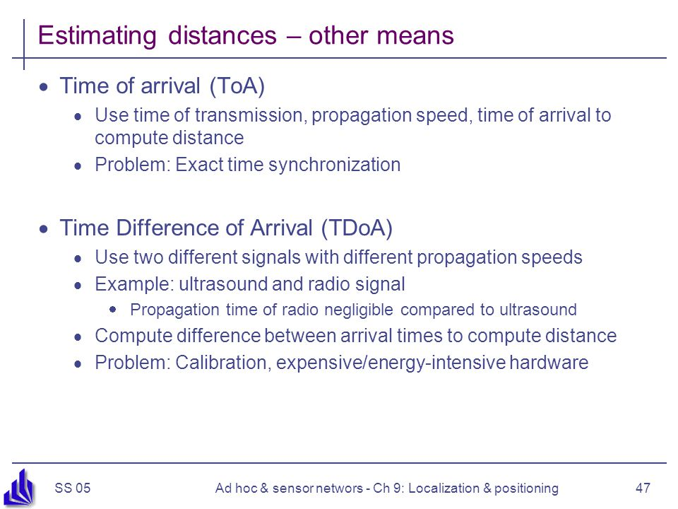 Estimating distances – other means
