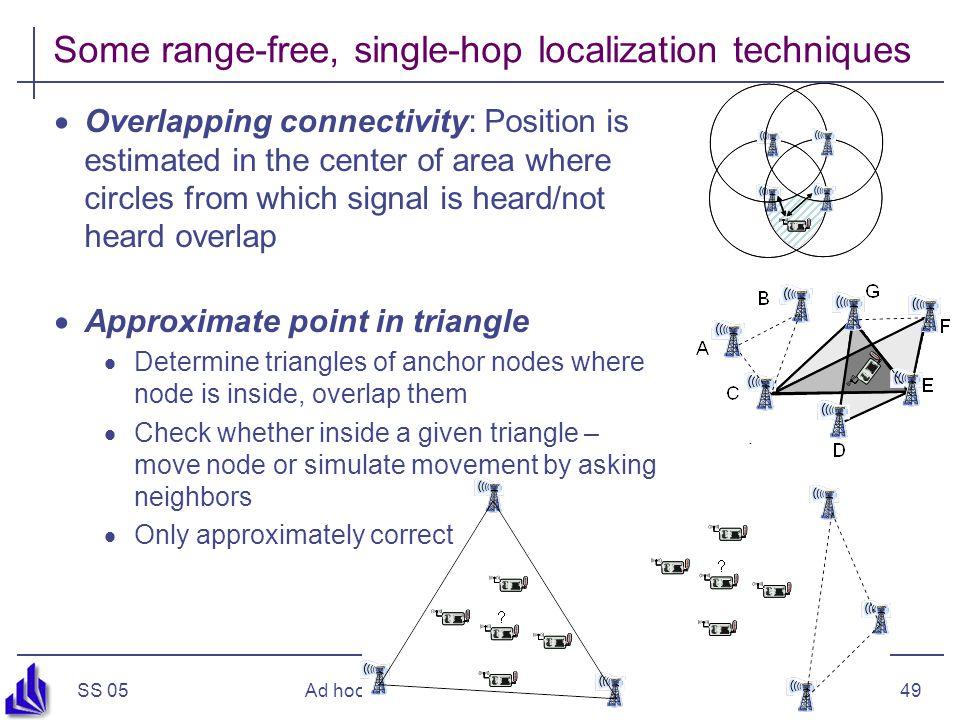 Some range-free, single-hop localization techniques