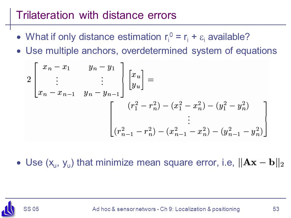 Trilateration with distance errors