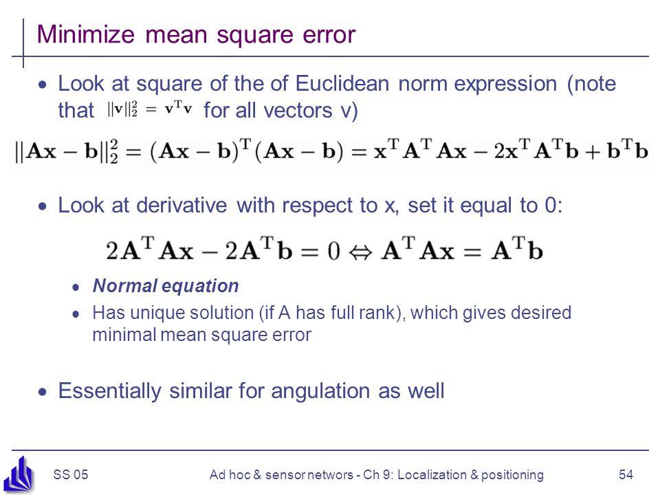 Minimize mean square error