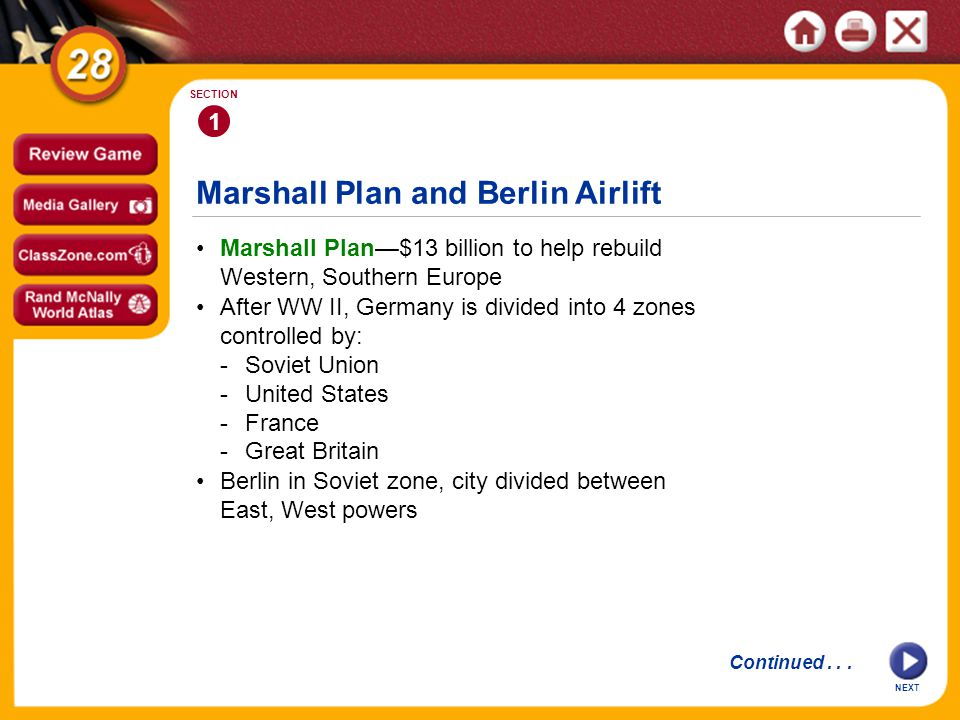 Marshall Plan and Berlin Airlift