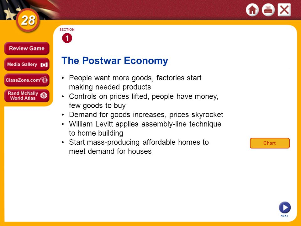 1 SECTION. The Postwar Economy. • People want more goods, factories start making needed products.