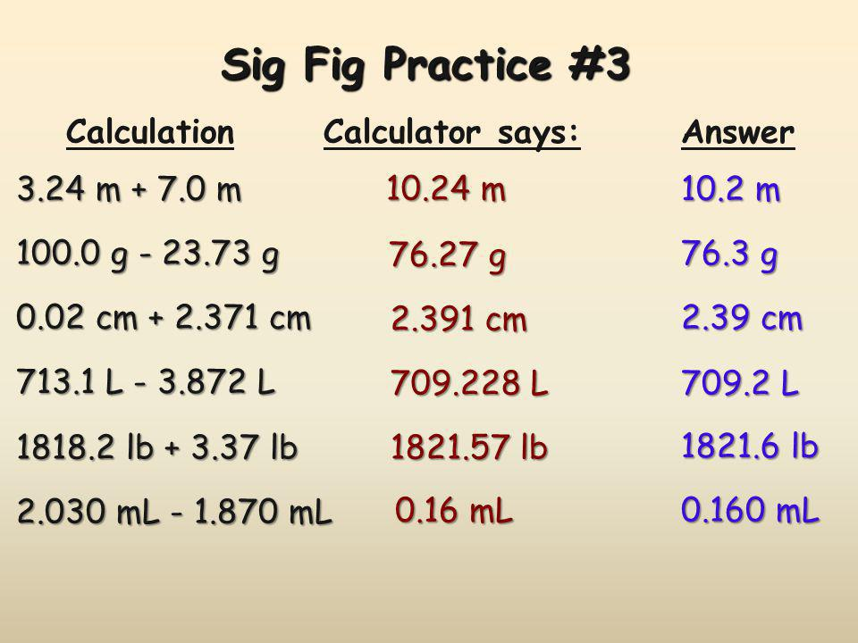 Sig Fig Practice #3 Calculation Calculator says: Answer 3.24 m + 7.0 m