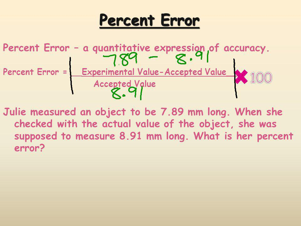 Percent Error Percent Error – a quantitative expression of accuracy. Percent Error = __Experimental Value-Accepted Value__.