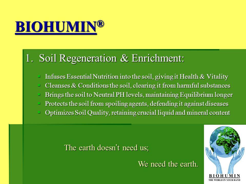 BIOHUMIN® 1. Soil Regeneration & Enrichment: