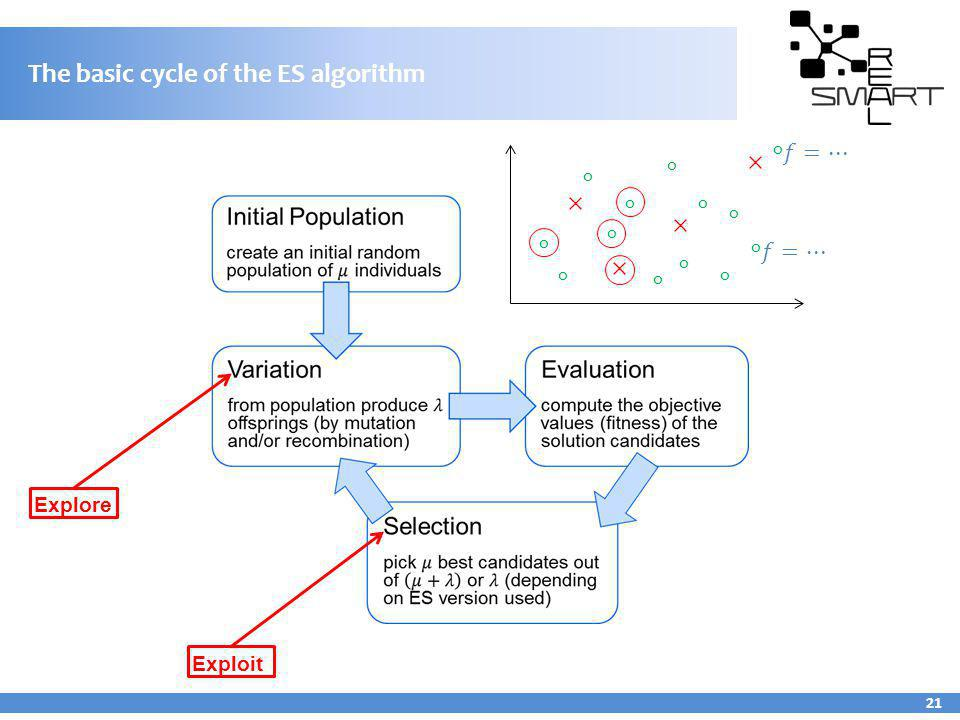 The basic cycle of the ES algorithm