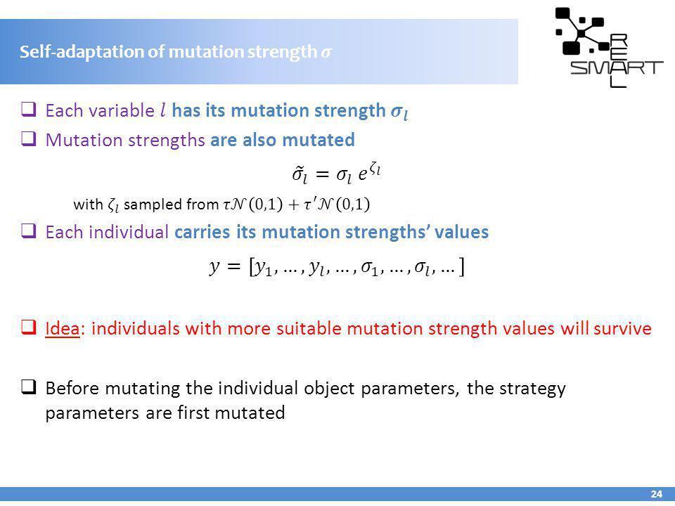 Self-adaptation of mutation strength 𝜎