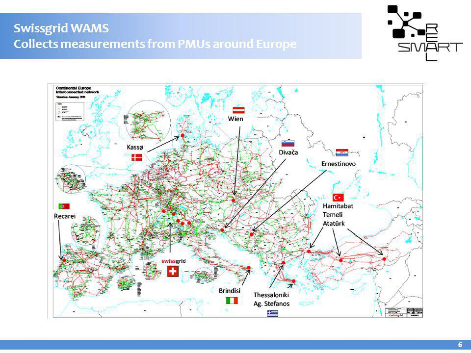 Swissgrid WAMS Collects measurements from PMUs around Europe