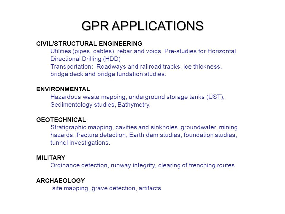 GPR APPLICATIONS CIVIL/STRUCTURAL ENGINEERING