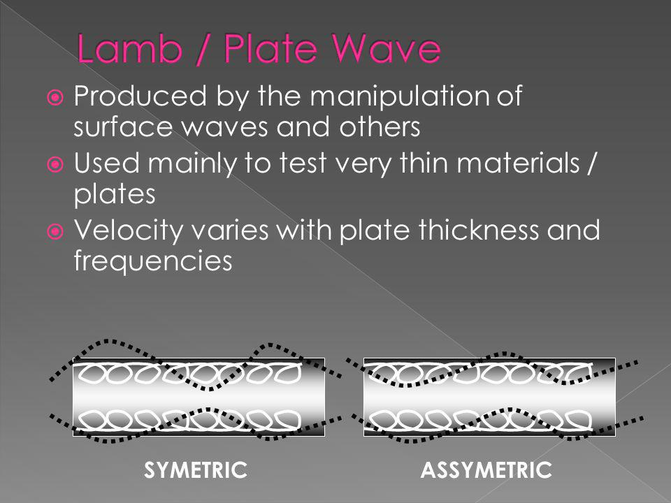 Lamb / Plate Wave Produced by the manipulation of surface waves and others. Used mainly to test very thin materials / plates.