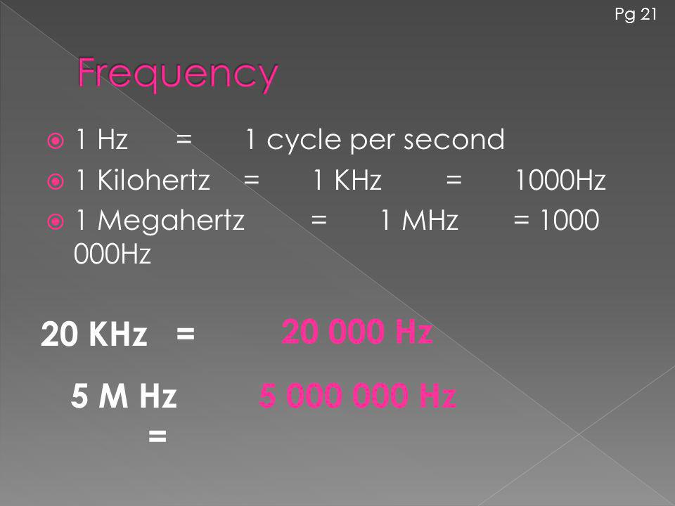Frequency 20 KHz = 20 000 Hz 5 M Hz = 5 000 000 Hz