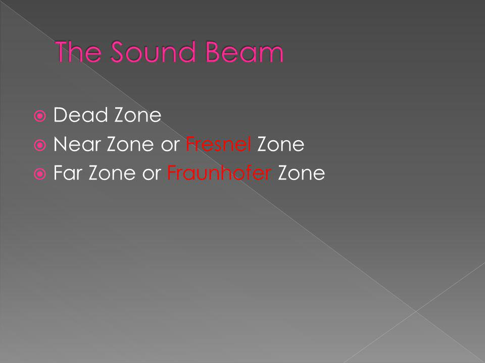 The Sound Beam Dead Zone Near Zone or Fresnel Zone