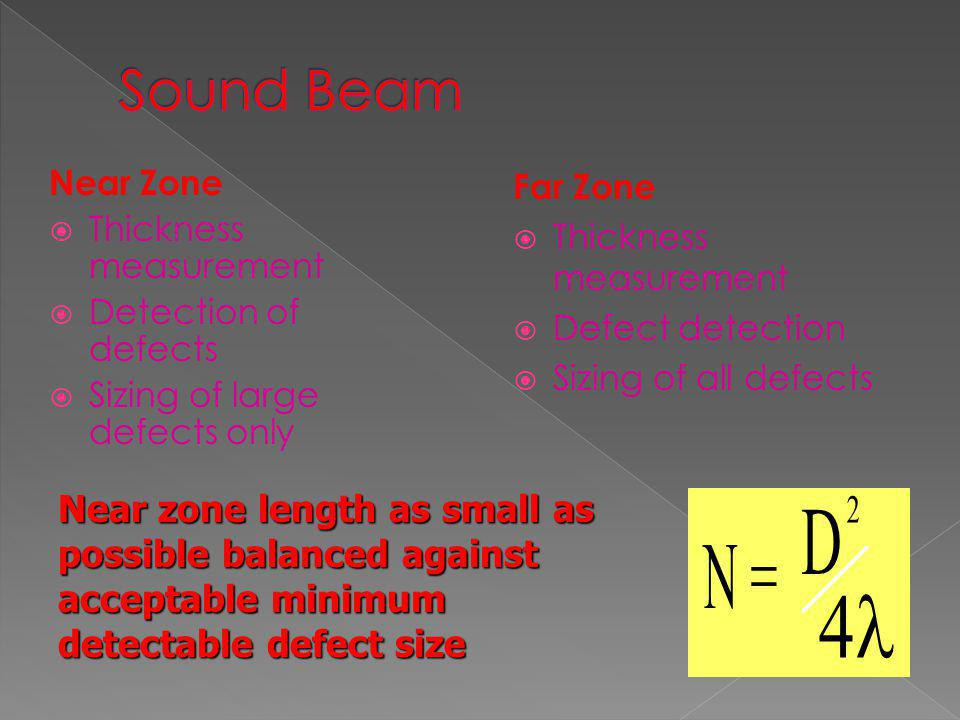Sound Beam Near Zone. Thickness measurement. Detection of defects. Sizing of large defects only.