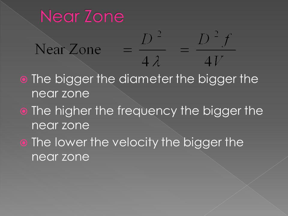 Near Zone The bigger the diameter the bigger the near zone