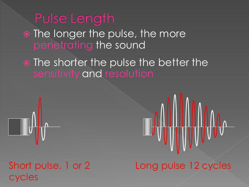Pulse Length The longer the pulse, the more penetrating the sound