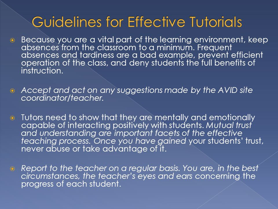 Guidelines for Effective Tutorials