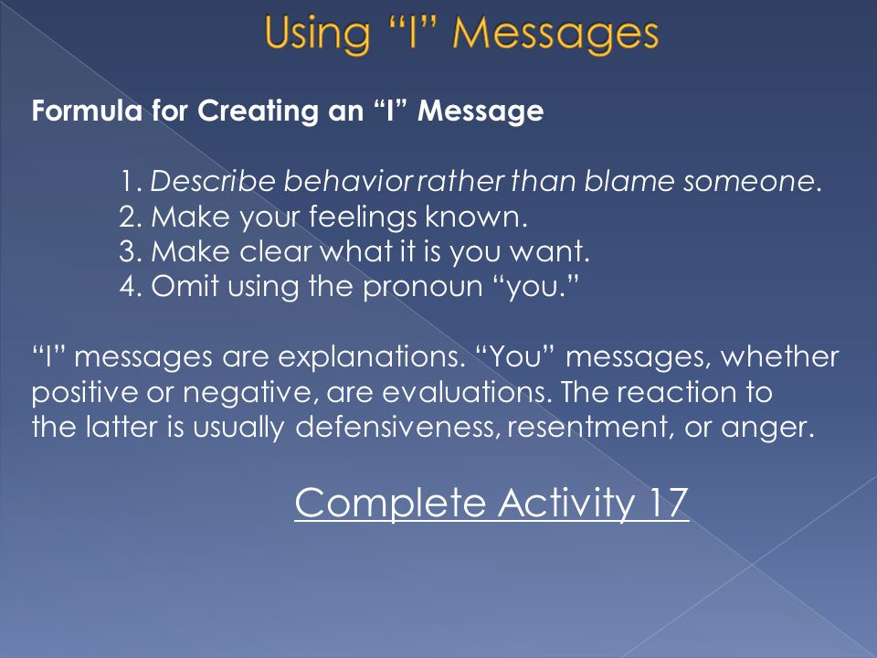 Using I Messages Complete Activity 17