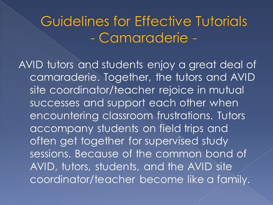 Guidelines for Effective Tutorials - Camaraderie -