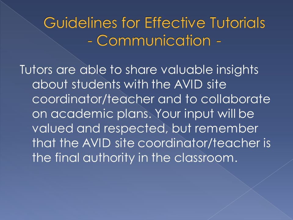 Guidelines for Effective Tutorials - Communication -