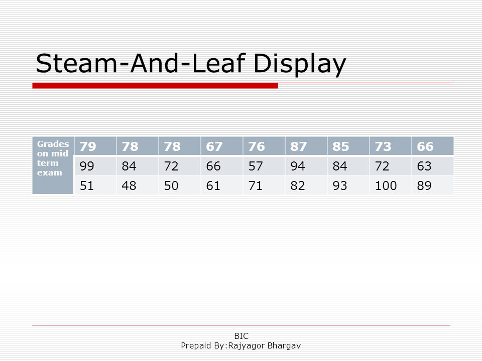 Steam-And-Leaf Display