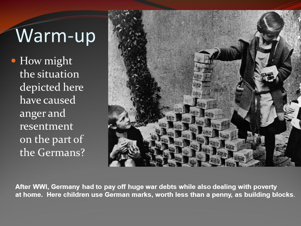 Warm-up How might the situation depicted here have caused anger and resentment on the part of the Germans