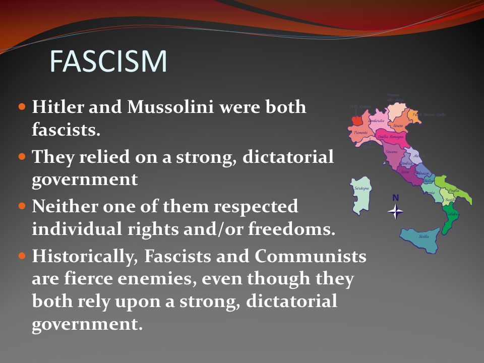 FASCISM Hitler and Mussolini were both fascists.