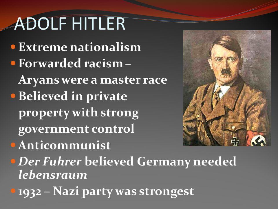 ADOLF HITLER Extreme nationalism Forwarded racism –
