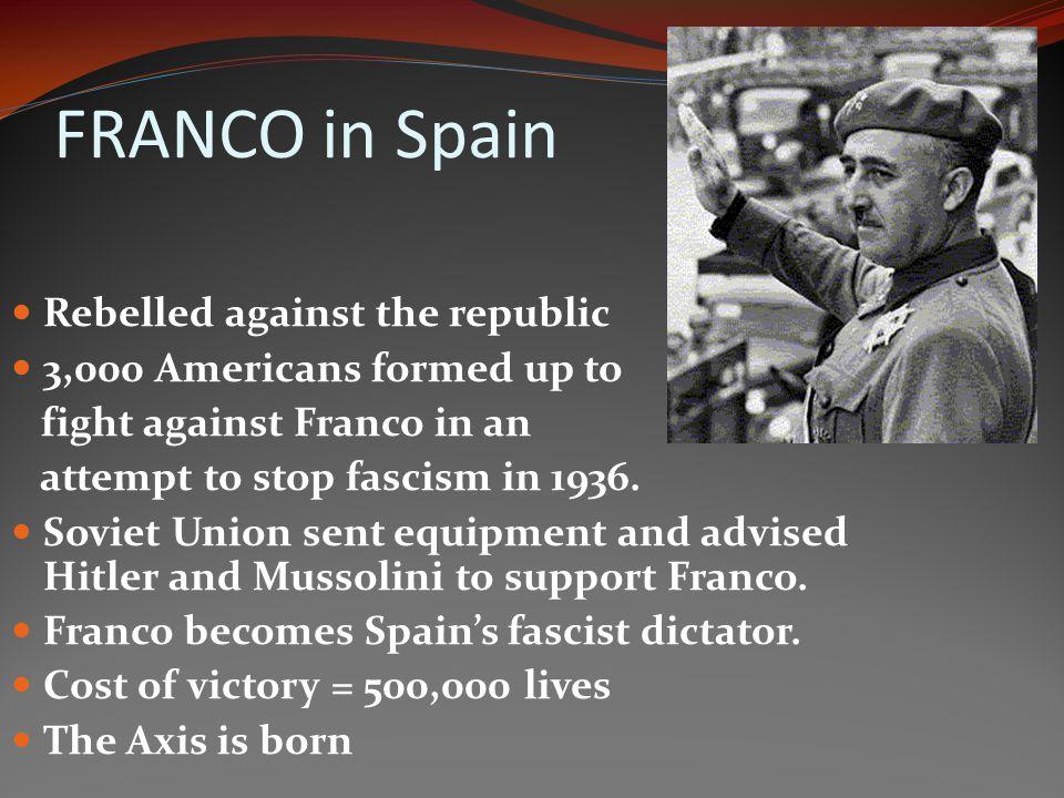 FRANCO in Spain Rebelled against the republic