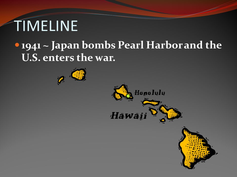 TIMELINE 1941 ~ Japan bombs Pearl Harbor and the U.S. enters the war.