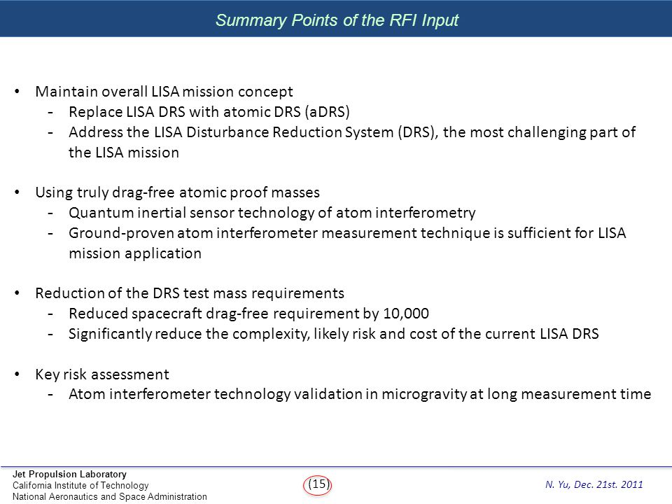 Summary Points of the RFI Input