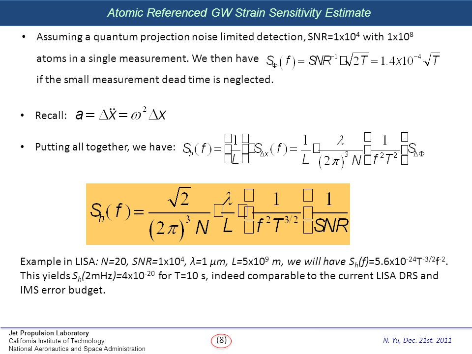 Atomic Referenced GW Strain Sensitivity Estimate