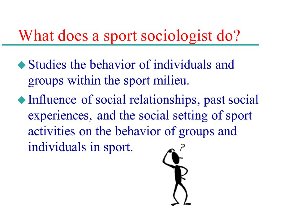 What does a sport sociologist do