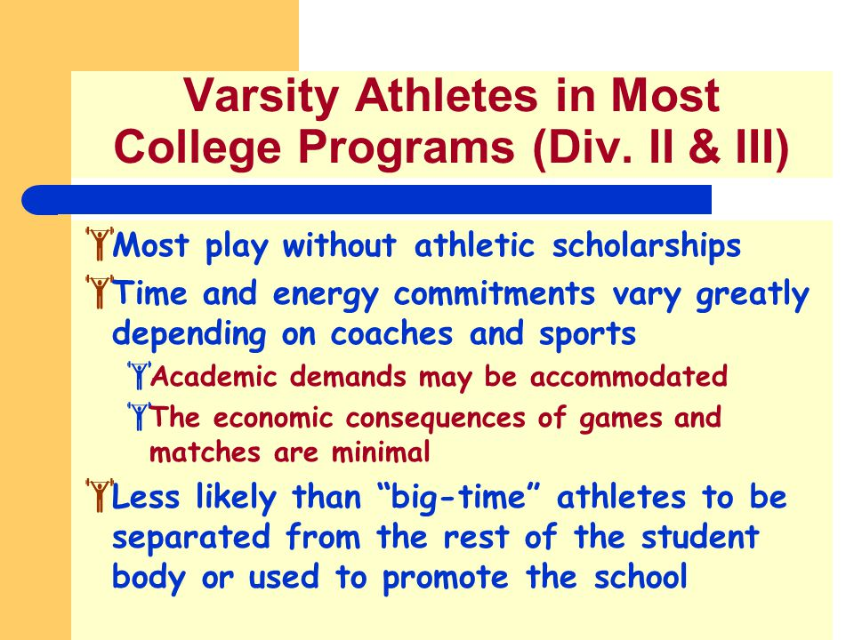 Varsity Athletes in Most College Programs (Div. II & III)