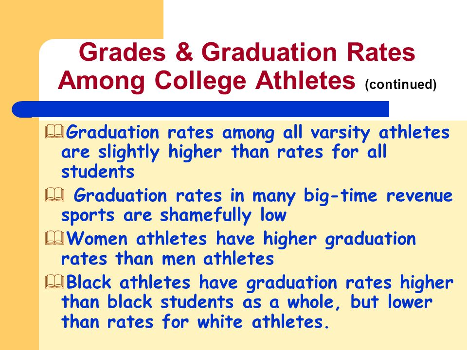 Grades & Graduation Rates Among College Athletes (continued)